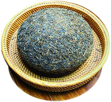重達3公斤、形狀似蘑菇的普洱茶坨,據說藏人很喜歡喝,把它用來和酥油一起煮著喝。(攝影/祥龍)