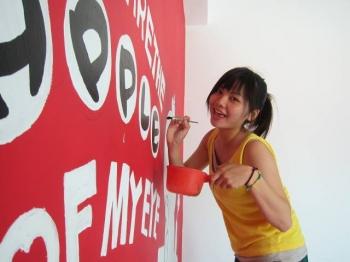 小月小姐到墾丁打工換宿,她所彩繪的牆壁。(小月小姐提供)