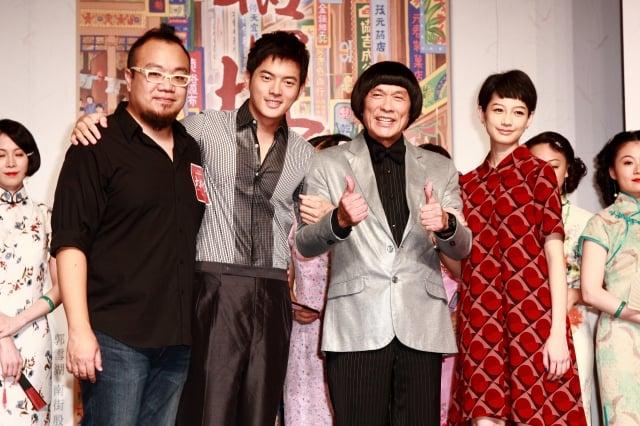 (左起)導演葉天倫、宥勝、豬哥亮和簡嫚書。(攝影/丘普林)