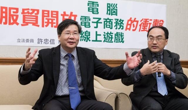 台聯黨團總召許忠信7日表示,電子商務是服貿協議中最不對等的部分。(記者陳柏州/攝影)