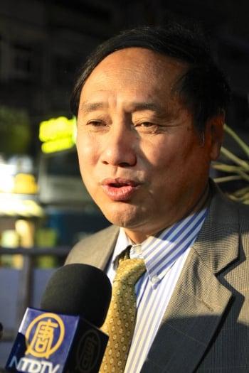 中國民運人士王軍濤指出:要對暴政說不。(記者許享富/攝影)