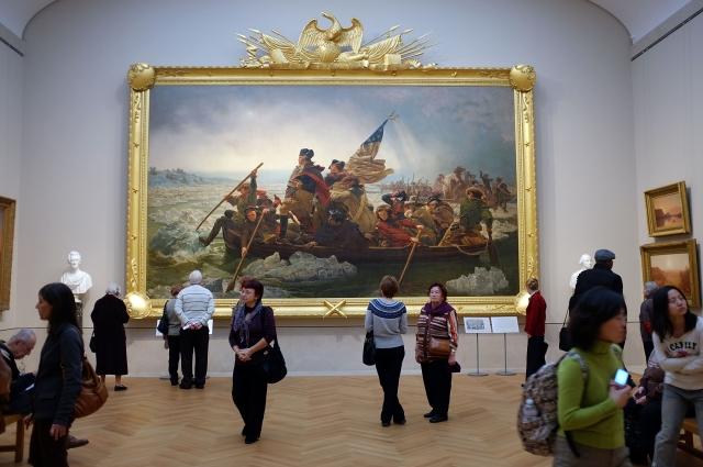 美國歷史畫家埃瑪紐埃爾.洛伊茨的作品《華盛頓橫渡德拉瓦河》。(Getty Images)