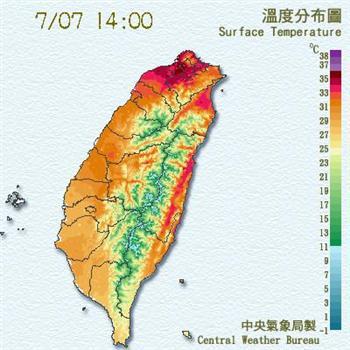 【更新】蓮花陸警解除 外圍環流沉降 北台飆高溫36度