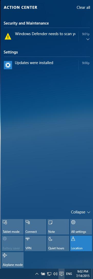 Win10的通知中心,控制項目比Win8多了一倍,與手機系統類似。(記者方惠萱/攝影)