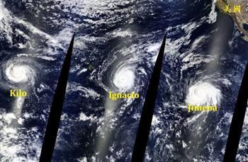 難得一見 三颱風太平洋上連線