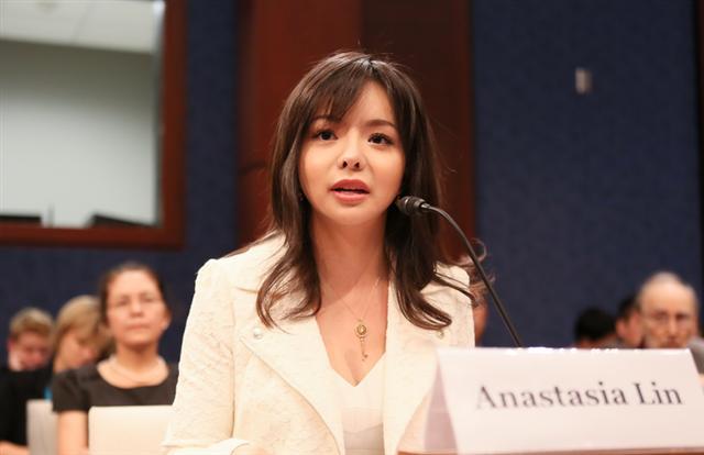 加拿大世界小姐林耶凡在美國國會聽證(李莎/大紀元)