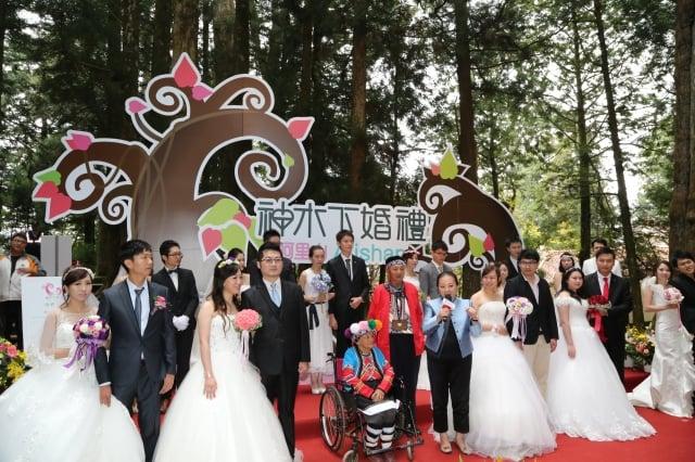 「2015阿里山神木下婚禮」26日在樹齡2,600年的香林神木見證下,12對新人宣讀愛的誓言、交換信物,情定一生,留下雋永的浪漫與回憶。(嘉義縣政府提供)