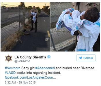 洛杉磯一新生女嬰被活埋 奇蹟生還