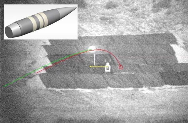 美國國防部的高等研究計劃署與軍事武器承包商泰里達因科技公司(Teledyne Technologies),以及軌道ATK(Orbital ATK)彈藥製造商合作研發的自轉子彈。(DARPA)