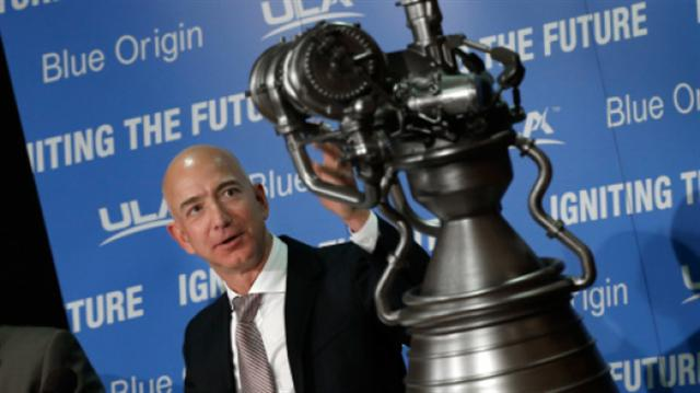 Blue Origin創始人Jeff Bezos在新聞發布會上(Win McNamee/Getty Images)