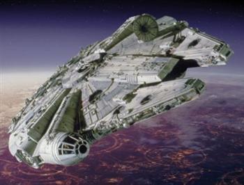 《星際大戰》中的千年鷹號飛船。 (維基百科)