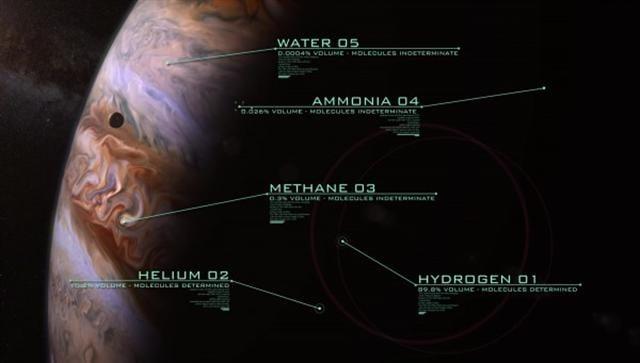 科學家目前了解到木星大氣主要含氫和氦,少量甲烷和氨,極少的水。(NASA視頻截圖)