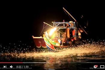 北海岸傳統技法 蹦火船以火捕魚