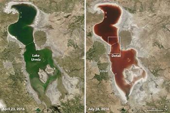 伊朗鹹水湖泊由綠轉紅 原來是這東西在作怪