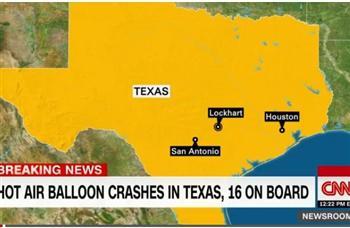 【快訊】德州熱氣球着火墜毀 16人無人生還
