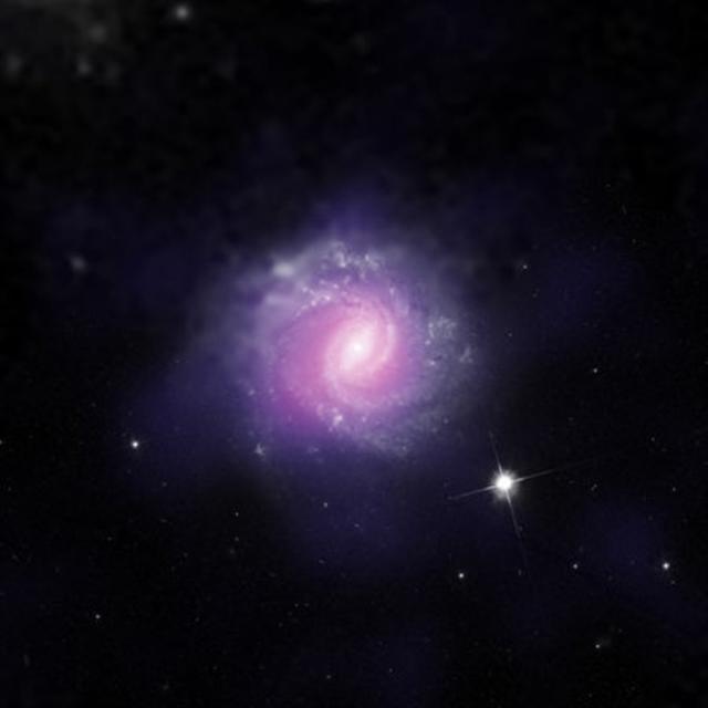 星系IC 3639,距離地球1.7億光年。(ESO/NASA/JPL-Caltech/STScI)