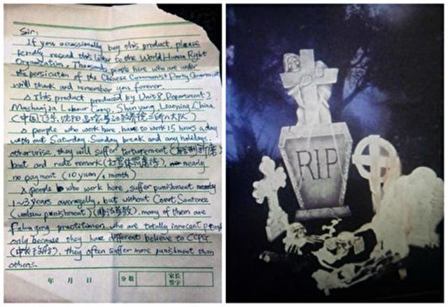 2011年,美國俄勒岡州的朱莉‧凱斯在Kmart超市購買了一套名為「全食屍鬼」的萬鬼節裝飾品。2012年10月,她在打開包裝時,意外發現了一封「求救信」。(臉書圖片。影片截圖/大紀元合成)