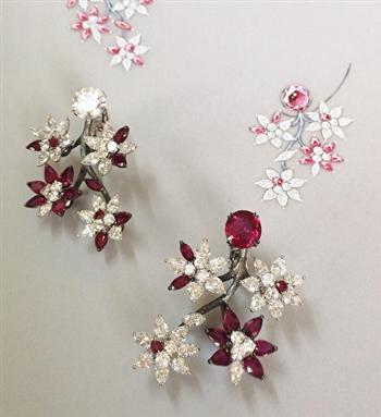 林千惠在Alexandre Reza工作室任職時的作品──紅寶石耳環。(林千恵提供)