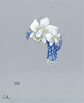 林千惠的手繪作品圖──蘭花手環。(林千恵提供)
