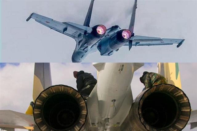 今年年初,中共耗資20億美元,從俄羅斯購進4架蘇-35戰鬥機。為防止中方仿製發動機,俄羅斯特意將蘇-35發動機焊死。(新唐人合成)