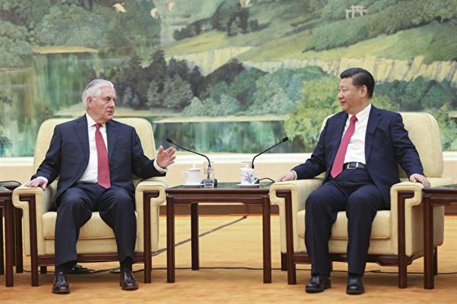 正在出訪北京的美國國務卿蒂勒森(Rex Tillerson),北京時間3月19日上午11時與中國主席習近平會面。(AFP PHOTO / POOL / Lintao Zhang)