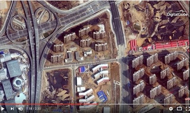 《商業內幕》用最新衛星技術清晰呈現了中國「鬼城」內部陰森、淒涼的景象。(Youtube視頻截圖)
