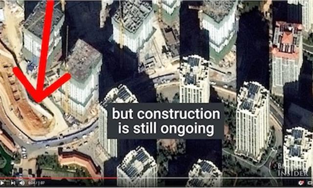 呈貢區一些近乎空置的摩天大樓。(Youtube視頻截圖)