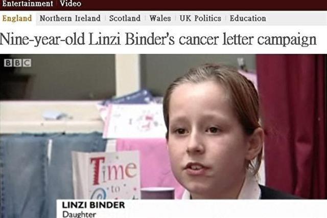 英國女童琳紫,在母梘罹癌接受化療期間,每天花幾個小時的時間寫信給母親加油、打氣。(視頻截圖取自BBC網站)