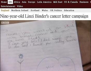 一名9歲的英國女童琳紫,連續7個月每天寫信為罹癌接受化療的母親加油打氣,母親的癌細胞奇蹟般消失。(影片截圖取自BBC網站)