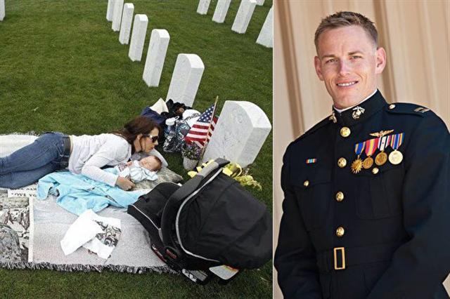 美國海軍車禍死亡後,孕妻生下遺腹子後,每天到公墓與亡夫對話,以獲得精神支持。(臉書/大紀元合成)