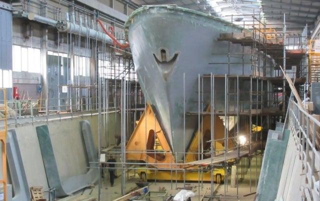 慶富集團強調,調查程序對國造獵雷艦案執行進度並無影響。圖為首艘在義大利建造的獵雷艦。(慶富集團提供)