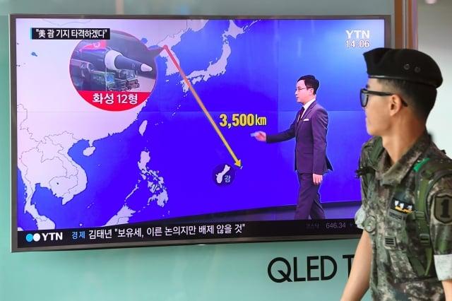 北韓10日表示,已準備在8月中旬以4枚中程彈道飛彈向美國屬地關島進行「包圍射擊」。(AFP)