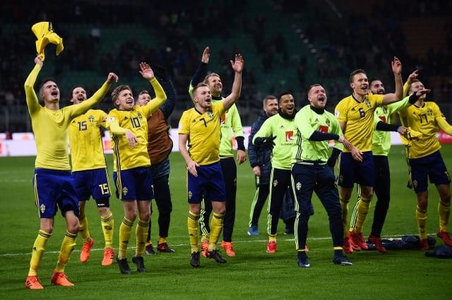 瑞典以總比數1:0淘汰義大利,成功搶下2018俄羅斯世界盃門票。(Getty Images)