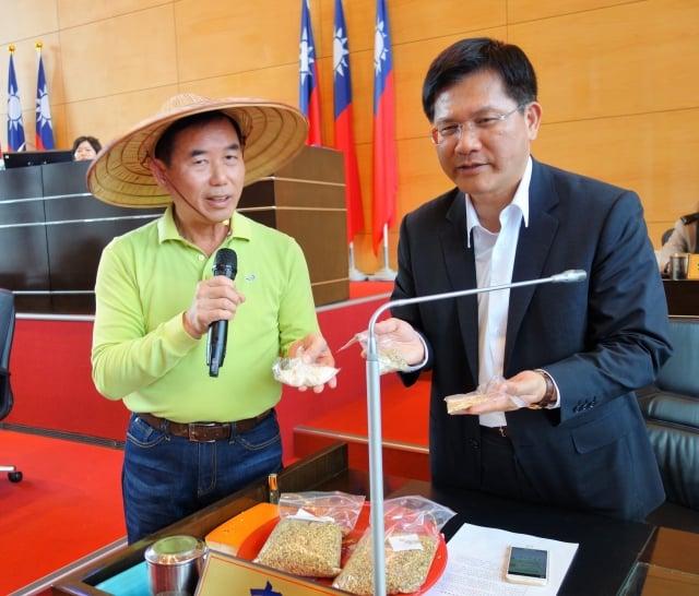 議員吳敏濟(左)對市長林佳龍(右)說,二期稻作品質並不會輸給一期稻。(記者黃玉燕/攝影)