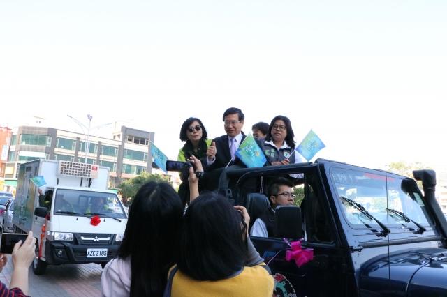 快樂出航「車隊啟航路線」(依序進行)市府出發、民權路、吳鳳北路、民族路、民國路中山路、維新路、鈺通飯店。