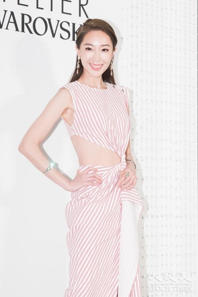 隋棠13日在台北出席水晶品牌10周年新品發表會。(記者陳柏州/攝影)