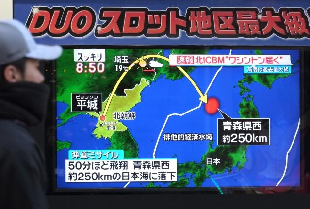 媒體預估,此次川安會將聚焦北韓問題。圖為北韓去年11月發射飛彈落入日本經濟海域。(KAZUHIRO NOGI / AFP)