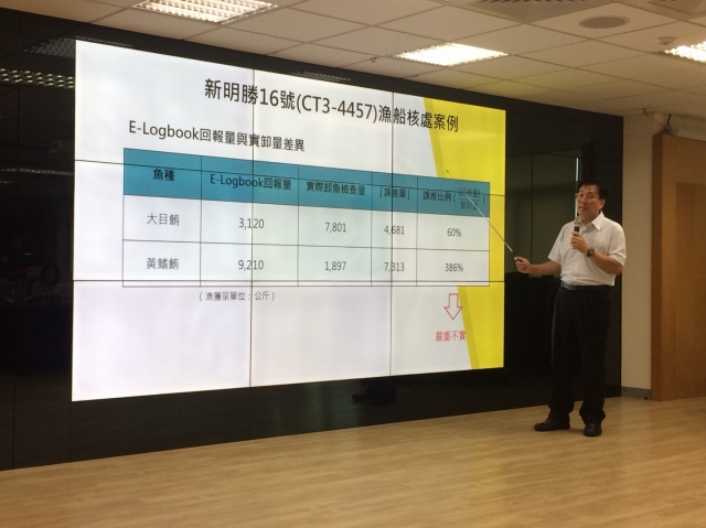 漁業署遠洋漁業組副組長王茂城說明漁船違規項目。