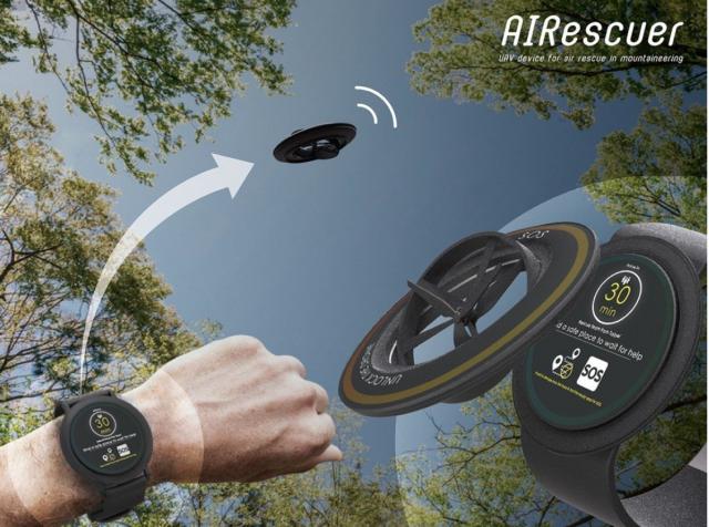 「AIRescuer」不僅有智能偵測的救援系統穿戴裝置,錶上的無人機可上升到空曠區發射訊號給救難單位。(北科大提供)