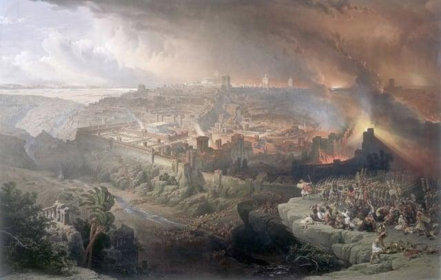 猶太戰爭,羅馬圍城,耶路撒冷毀滅。(David Roberts,西元1850年)。(維基百科)