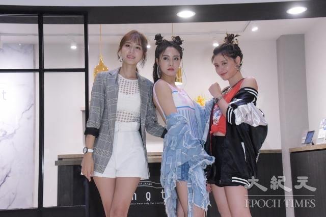 Popu Lady女團9日出席Knot京站快閃店開幕記者會。圖左起為洪詩、大元、宇珊。(記者黃宗茂/攝影)
