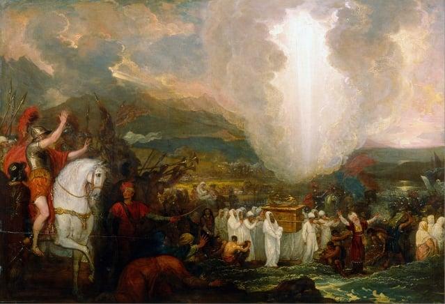 約書亞抬約櫃越過約旦河,Benjamin West。(維基百科)