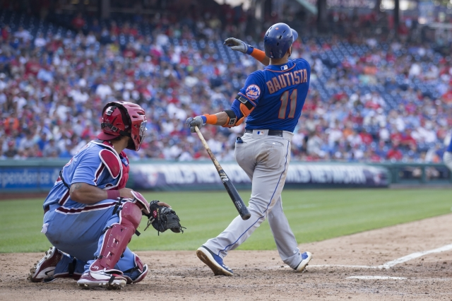 包提斯塔(右)敲出滿貫全壘打。(Mitchell Leff/Getty Images)