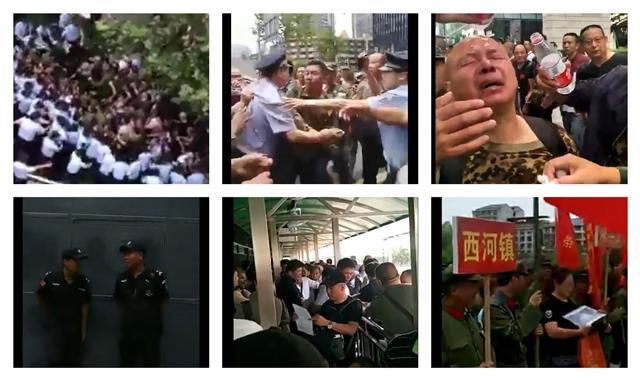 老兵維權動作大,2018年9月10日,北京、成都、湖南等地都發生老兵維權事件。(大紀元合成圖)