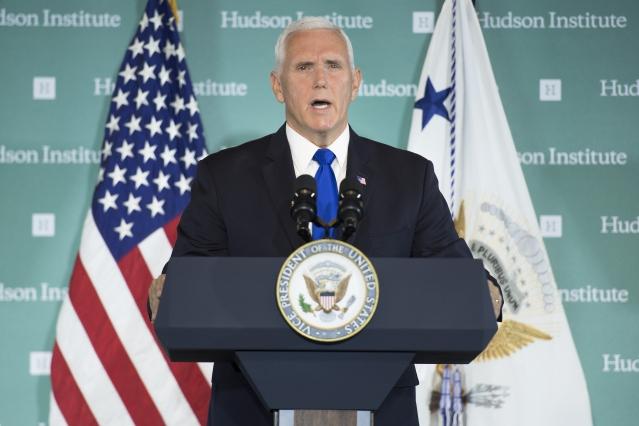 美國副總統彭斯(Mike Pence)上週在華盛頓智庫哈德遜研究所發表演講,被視為美中關係全面調整的重大轉捩點。(AFP)