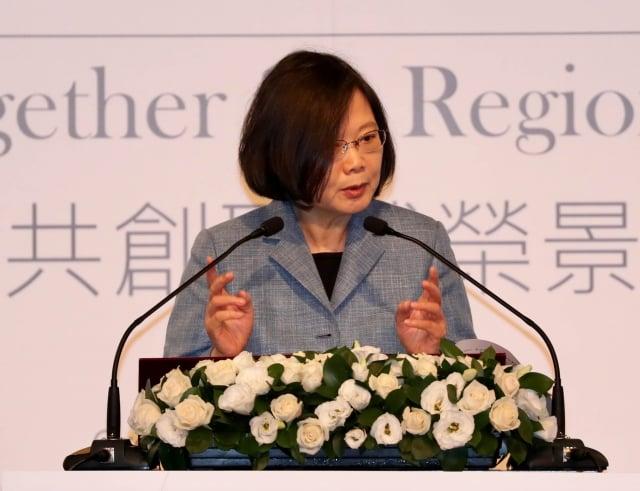 「玉山論壇:亞洲進步與創新對話」11日在台北君悅酒店舉行,總統蔡英文出席開幕式,並致詞。(中央社)