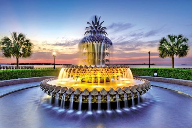 南卡羅來納州的鳳梨噴泉代表著熱情好客。(Fotolia)
