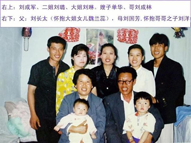 劉成軍的全家福,右1為劉成軍,中間是大姐劉琳。(取自明慧網)