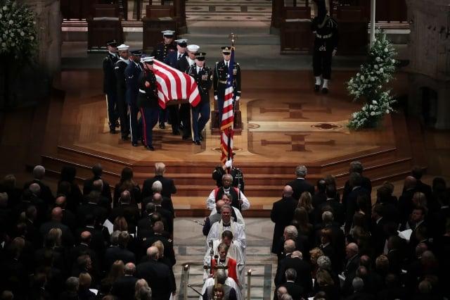 美國前總統老布希的葬禮12月5日在首都華盛頓國家大教堂舉行。(記者Samira Bouaou/攝影)