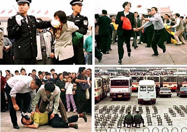 圖為2003年5月13日,中共在天安門廣場瘋狂抓捕來和平抗議的法輪功學員。(取自明慧網)